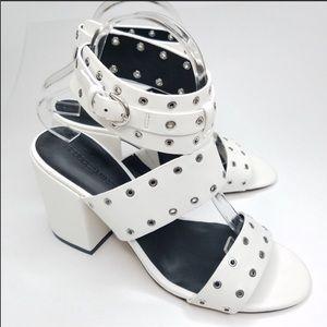 Rebecca Minkoff White Studded Block Heels
